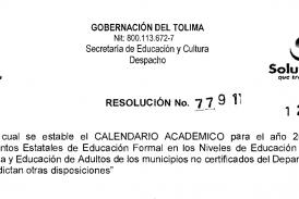 Resolución No.7791 de 12 diciembre de 2017 Calendario Académico 2018 Tolima