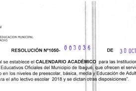 Resolución No. 3036 octubre 30 de 2017 – Calendario Académico 2018 Ibagué